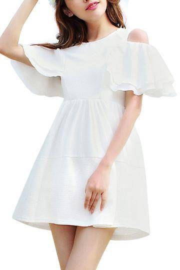 White Ruffled luva de cintura alta Off-ombro Skater Dress - US$21.95 -YOINS