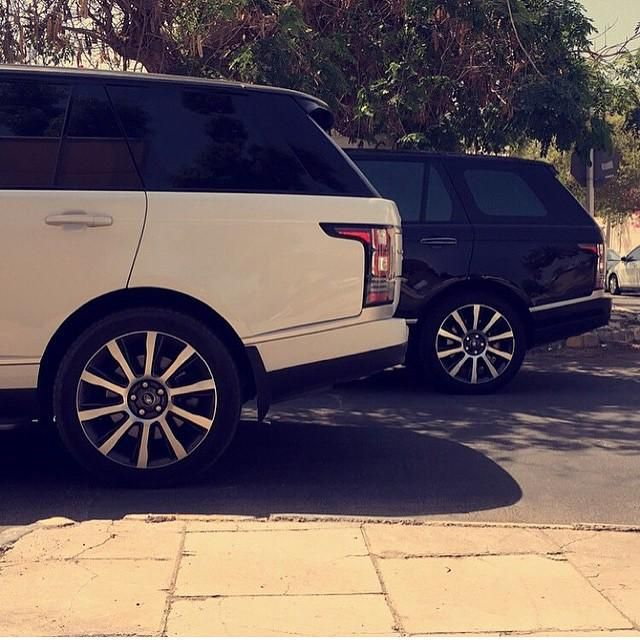 Black and white Range Rover