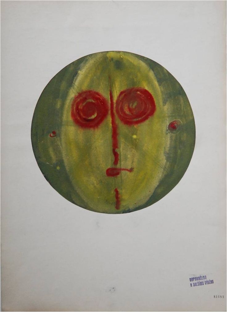 Lubomir Blecha, proposal for design of decorative disc, gouache on paper, 1957, D: 31,3 cm, UMPRUM Prague (Academy of Applied Arts). Initially, proposals for glass design were too realistic, too much descriptive