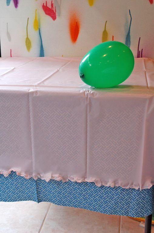 Ruffled edge of plastic tablecloth
