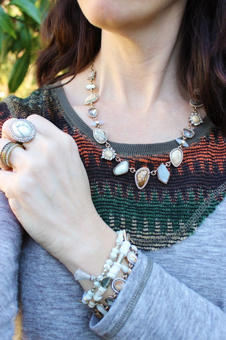 Semi precious jewelry, earth tones with jasper, white jade, mother-of-pearl inlay, druzy and pave accents. This petite collar is perfect for every neckline. The neutral colors make it a capsule wardrobe staple.