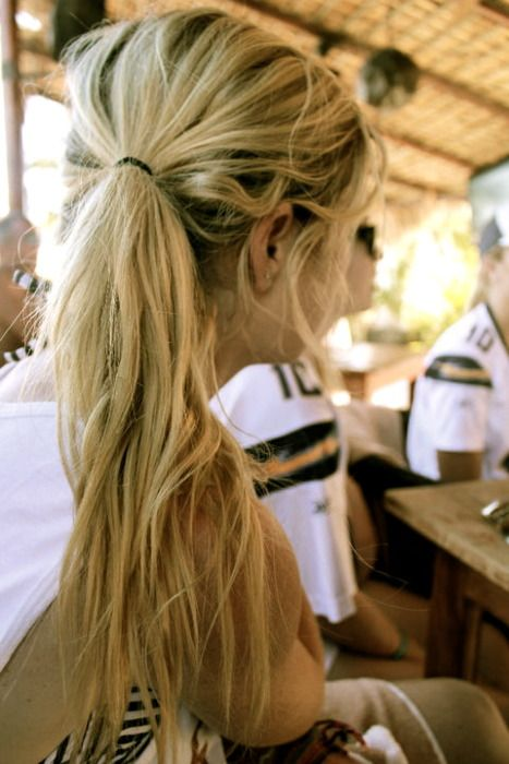 Salty. Beach. Hair. Messy. Pony Tail.