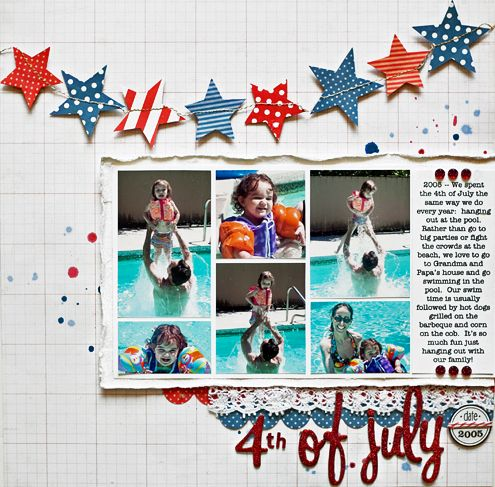 Stacy Cohen - awesome as usual: 4Th Of July Scrapbook Layout, Scrapbook Stars, Scrapbook Pages Layout, Stars Scrapbook Layout, July Layout, Stars Banners, 4Th Of July Scrapbook Pages, Scrapbook Layout Collage, Stars Garlands