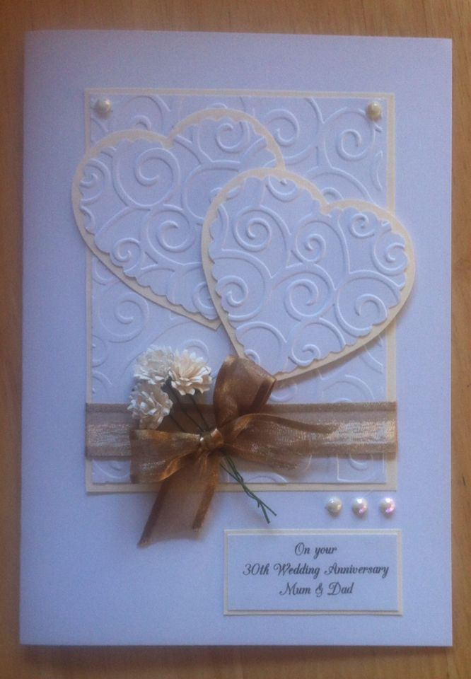 30th Wedding Anniversary Card Modern Anniversary Cards Handmade Wedding Anniversary Cards Anniversary Cards