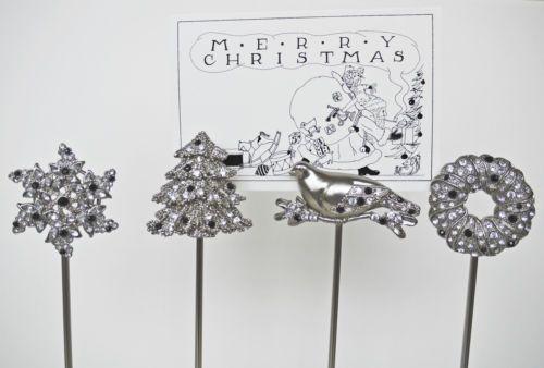 pottery barn jeweled christmas place card holders bird tree snowflake wreath. Black Bedroom Furniture Sets. Home Design Ideas