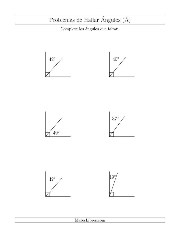 La hoja de ejercicios de matemáticas de Relación Entre Ángulos Complementarios (A) de la página Hojas de Ejercicios de Geometría en MatesLibres.com.