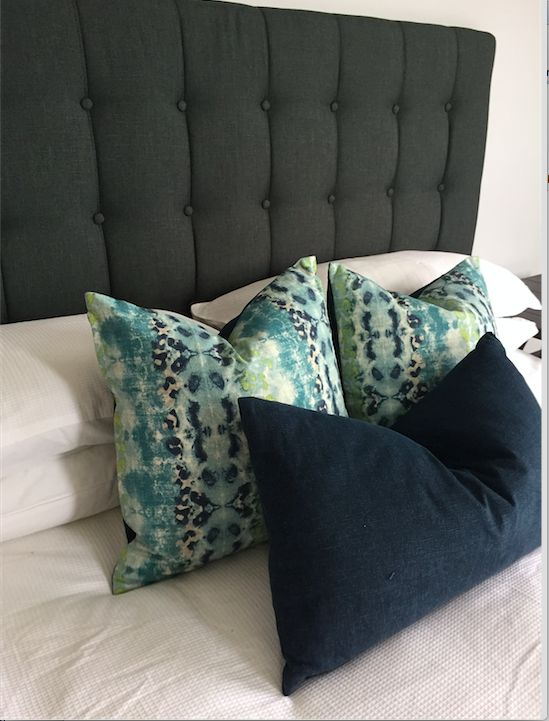 Bedhead, cushions all sourced by Ornella Botter Interiors.