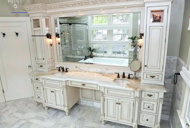 Makeup Area In Small Bathroom Bathroom Vanity With Makeup Area Addition And Renovatio In 2020 Bathroom With Makeup Vanity Makeup Vanity Decor Bathroom Vanity