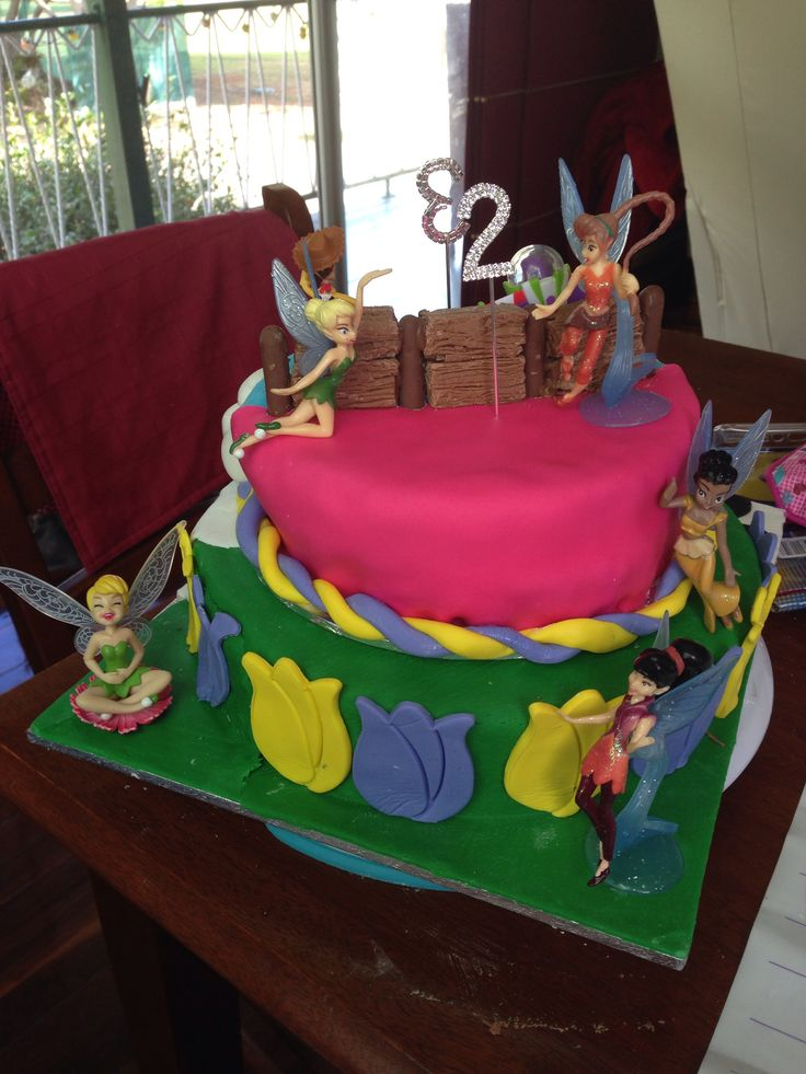 Tinkerbell side of cake