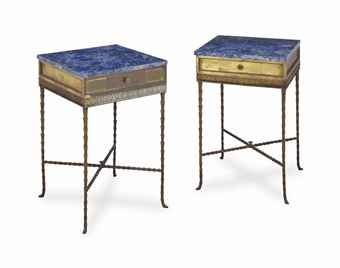 A PAIR OF BAGUES STYLE GILT METAL AND LAPIS LAZULI-VENEERED SIDE TABLES,