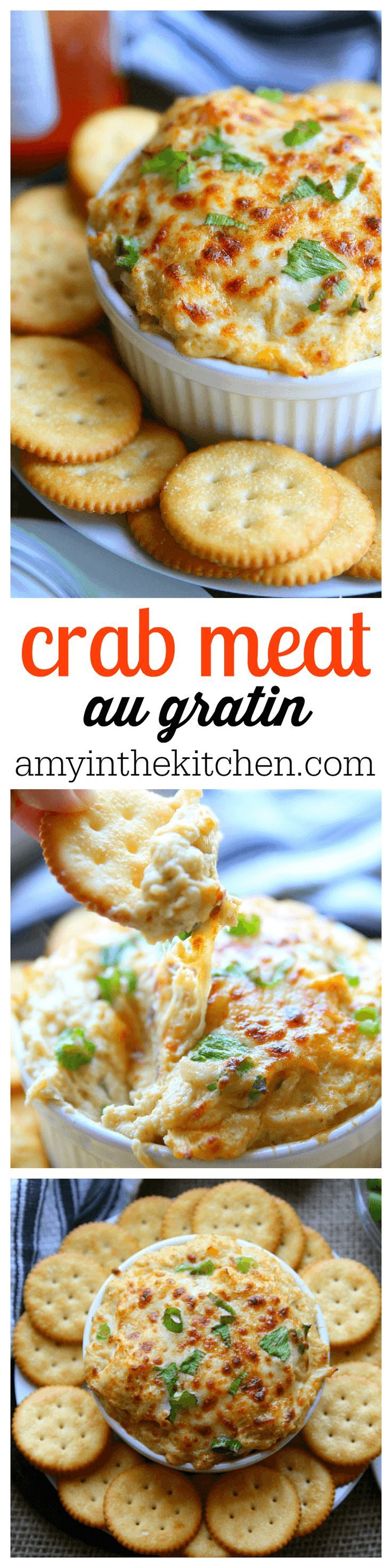 You'll love this recipe for Crab Meat au Gratin. White lump crab meat with melted cheese and seasonings, perfect for holiday parties!- Amy in the Kitchen