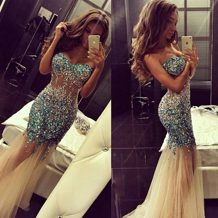 Sparkly Artificial Rhinestone Beaded Mermaid Prom Dress Champagne Tulle Long Evening Dress APD1623 · DiyDressonline · Online Store Powered by Storenvy