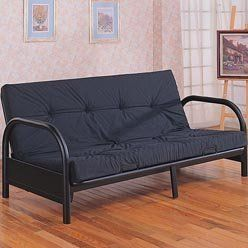 Futons Contemporary Metal Futon Frame by Coaster by Coaster Home Furnishings. $163.64. Some assembly may be required. Please see product details. Futons->Futon Frames->Metal. Futons. Metal Futon Frame with Arched Arm in Satin Black Finish. Turley black futon by Coaster home will give your home a satin black metal complement. This metal futon has a satin black tone that can be used as a bed or a sofa for seating. With 29 arms and extra leg for support, this futon will hav...