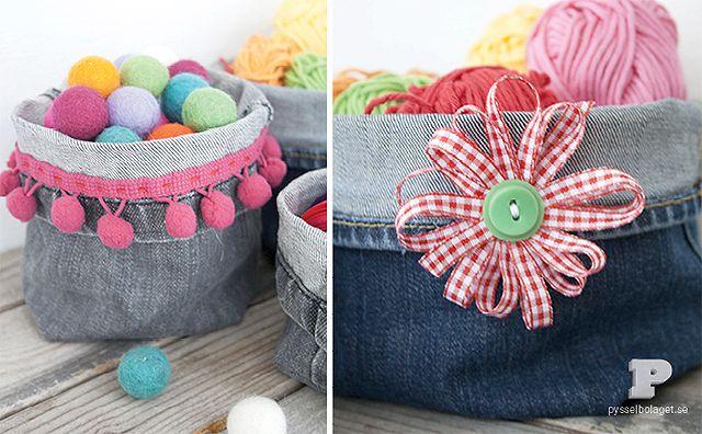 Minicestas hechas con pantalones viejos manualidades de tela y fieltro manualidades para - Flores de telas hechas a mano ...