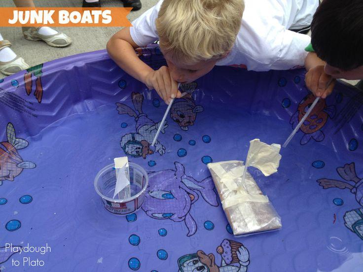 Fun STEM project for kids! Make junk boats. {Playdough to Plato}