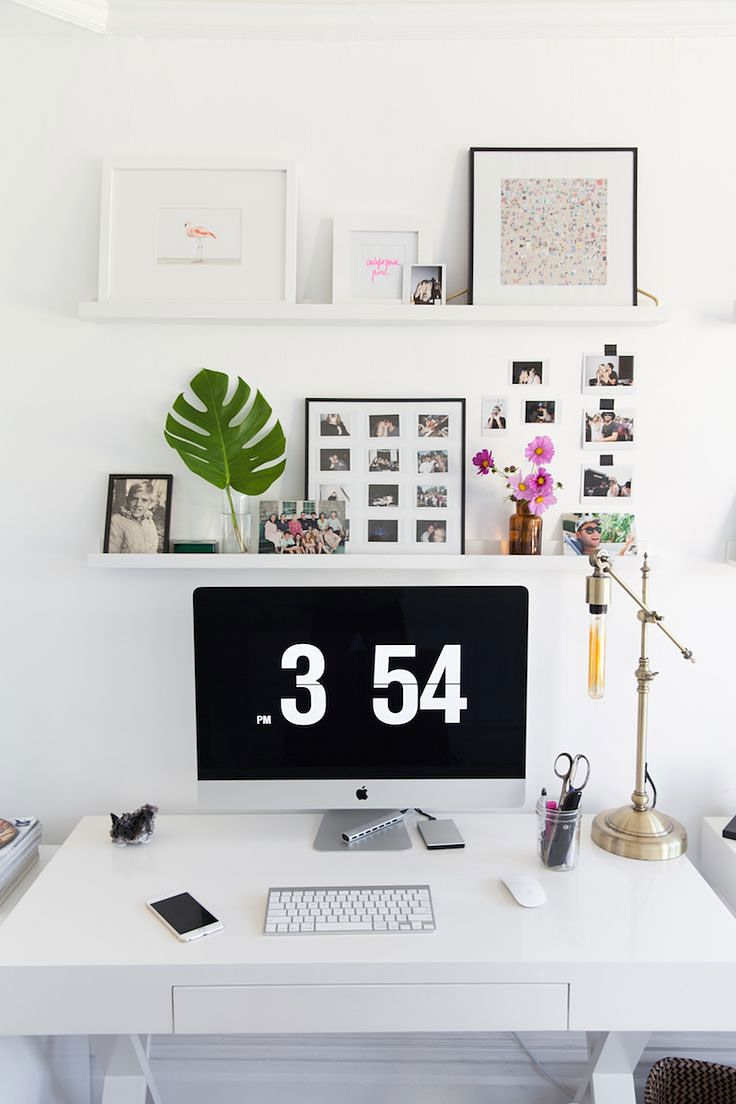12 Chic Desk Organizing Ideas To Kick Off A Clutter Free Year Shelves Above Deskhome Office