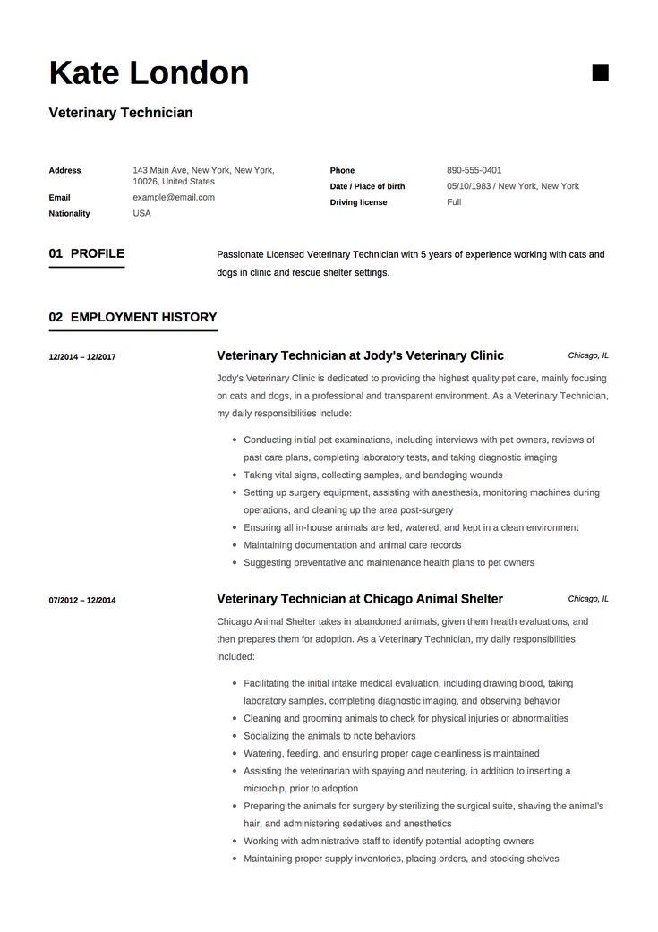 veterinary technician resume sample  medical resume