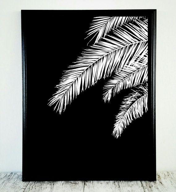 Black White Print Black White Palm Print Tropical by CristylClear