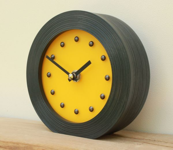 Frosted Yellow Mantel Clock in Black Frame