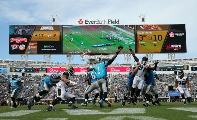 JACKSONVILLE, FL - SEPTEMBER 13:  Cam Newton #1 of the Carolina Panthers passes during a game against the Jacksonville Jaguars at EverBank Field on Se...