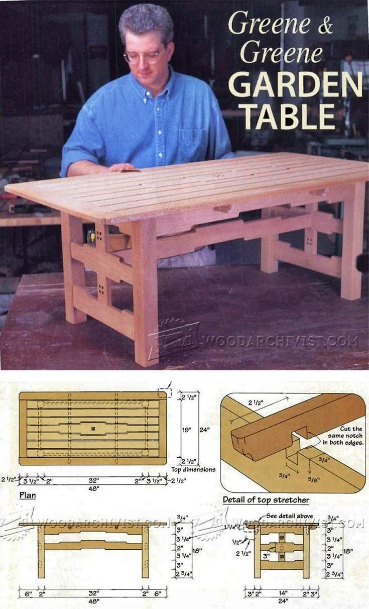 Garden Table Plans - Outdoor Furniture Plans & Projects | WoodArchivist.com