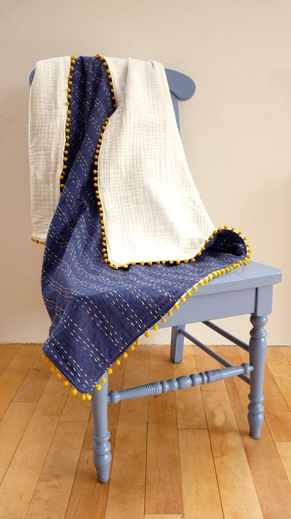 kantha baby quilt // pom pom baby blanket // by LiveLoveSmile