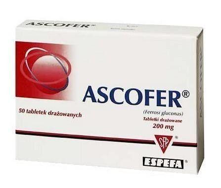 ASCOFER x 50 dragees, iron deficiency, anemia treatment, ferrous gluconate, iron gluconate