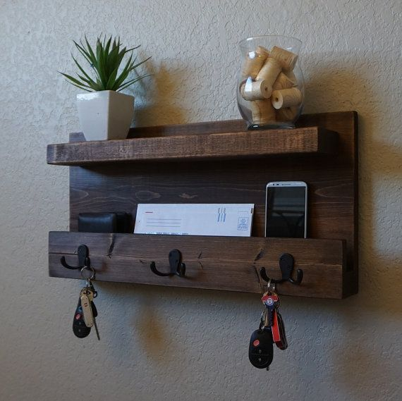 Handmade entryway shelf mail organizer with oil-rubbed hooks. Perfect for any…