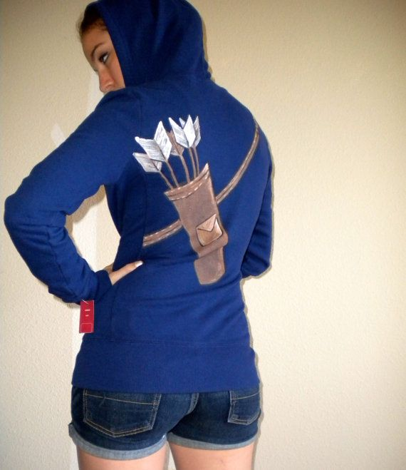 Archery Hoodie Navy Blue Katniss Link Arrow Jacket by calicoowls, $36.00