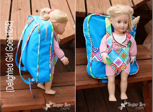 Backpack and doll carrier tutorial by Sugar Bee Crafts via lilblueboo.com