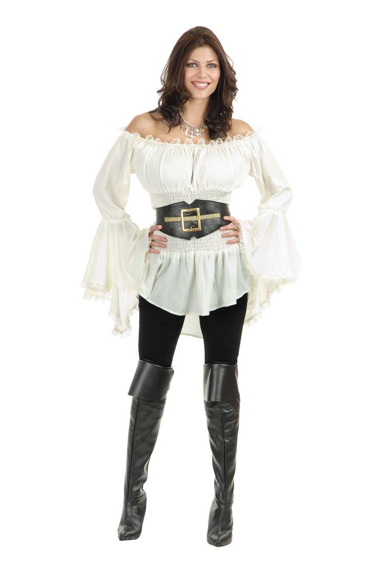 Womens Costume Pirate Shirt | Women's Wild White Pirate Blouse | Caribbean Pirate Costume Shirt ...