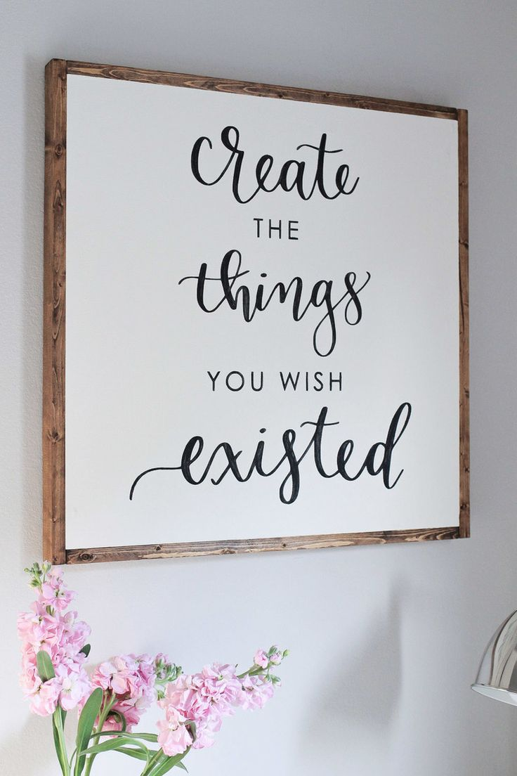 diy wood sign with calligraphy quote