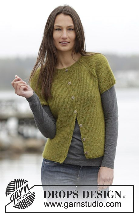 "Lovely vest in garter st with raglan, worked top down in ""Alpaca"". New pattern online for free! #knitting"
