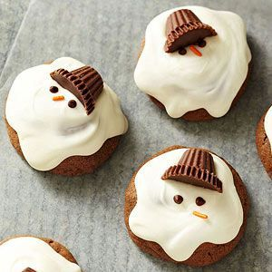 How cute are these chocolaty melting snowmen cookies? Better yet, these Christmas cookies are easy to make, too--no rolling pin needed, and the frosting is simply melted vanilla-flavored candy coating. /