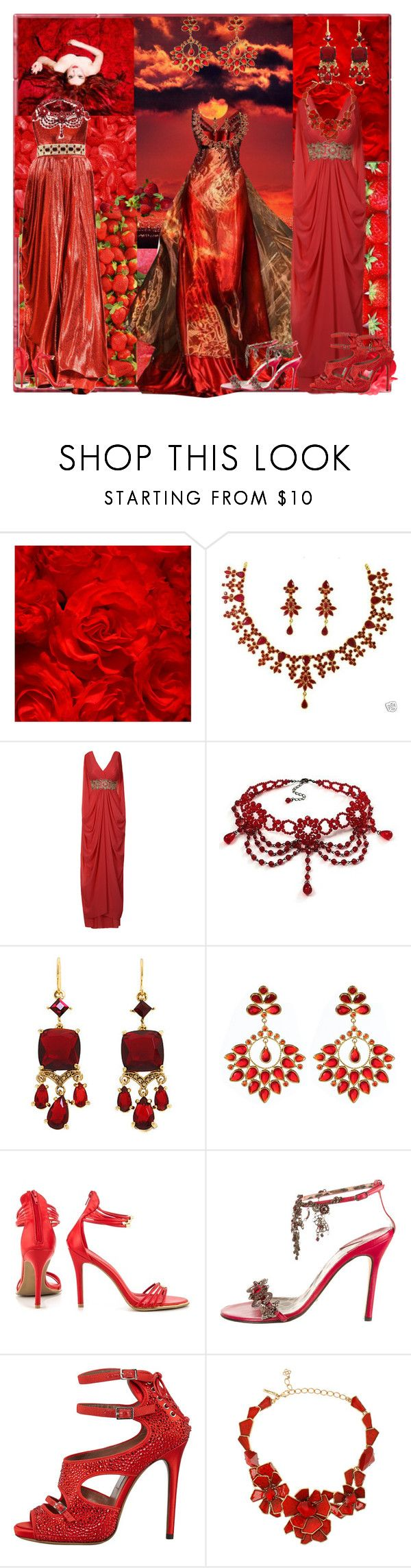 """June Full Strawberry Moon"" by lillian-pandola ❤ liked on Polyvore featuring Elie Saab, Michi, Carolee, Amrita Singh, Shoe Republic LA, Dolce&Gabbana, Tabitha Simmons and Oscar de la Renta"