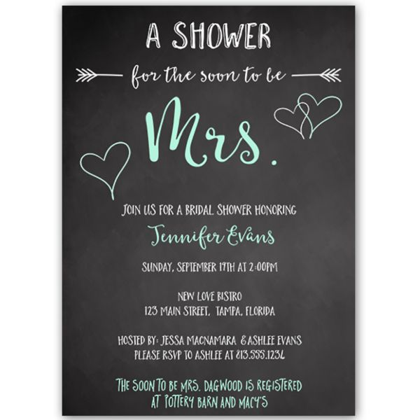 Invite guests to your bridal shower with this chalkboard invitation featuring mint green lettering and hearts.