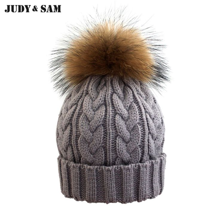 2016YHKGG girl Pom Pom Beanie Warm Knitted Bobble Kids Fur Pompom Hat  Children Real Raccoon Fur Pompon Winter Hat Cap                Click on the  … 1f62e8cffaf