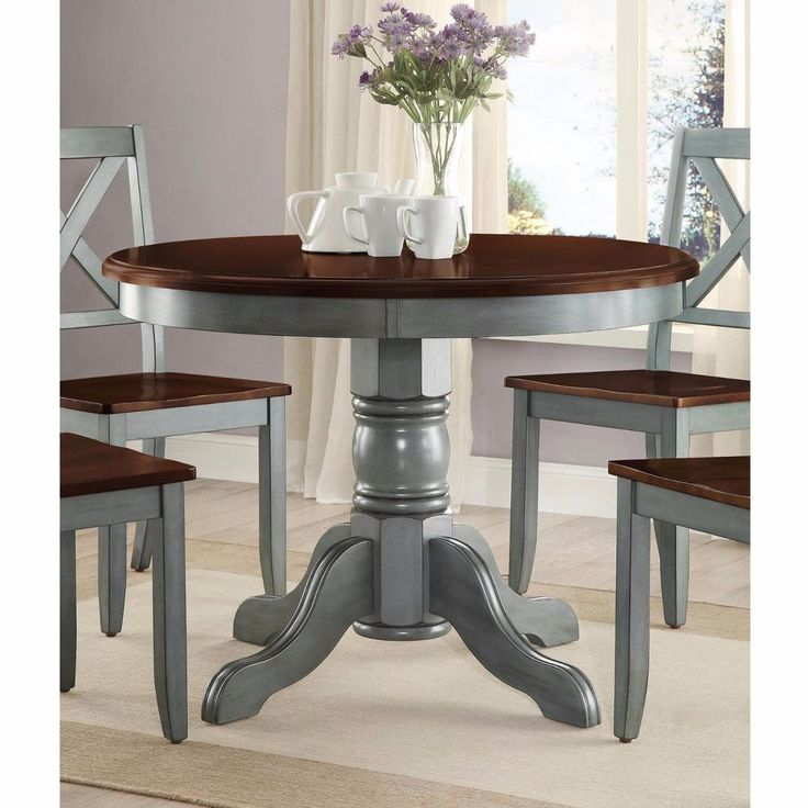 Country Kitchen Table Round Rustic Dining Room Pedestal Solid Wood Home Cottage