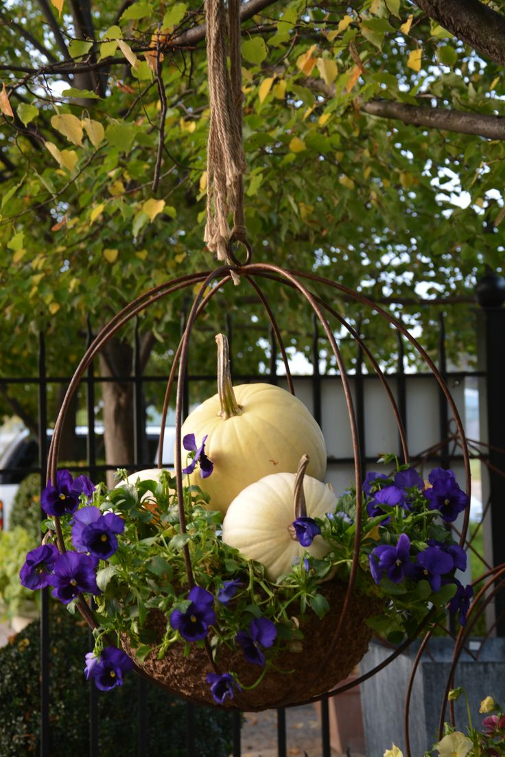 Don't just empty and store your summer hanging baskets change them out for a fall display and extend the season.
