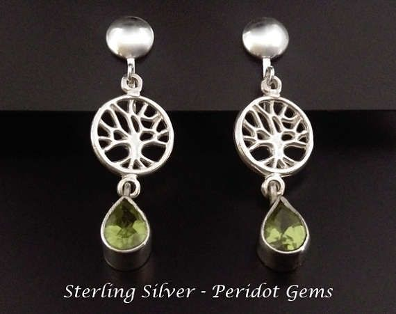 Clip On Earrings: Gorgeous Peridot Gems in Tree of Life Sterling Silver Clip On Earrings | Silver Earrings, Gifts for Women, Gift Idea from www.mothersdayaustralia.net.au and https://www.etsy.com/shop/EarringsArtisan #cliponearrings #earrings #silverearrings #clipon #giftsforwomen #mothersday #mothersdaygiftideas #jewelry #jewellery