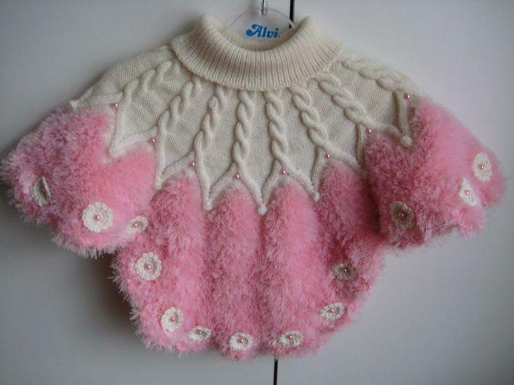 Sakallı ipten yapılmış kız çocukları için panço
