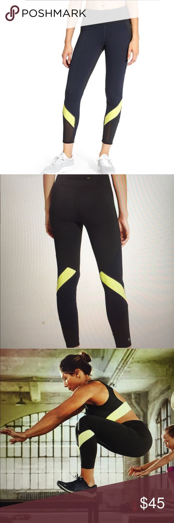 """NWT Athleta Colorblock Spliced Sonar 7/8 Tight New with tags. No flaws. Purchased for $84. From the Athleta website: """"The super-sleek, wicking tight with compression fabric and a 7/8 length to free up those ankles on your training days. INSPIRED FOR: gym/training, run, studio workouts Ultra-comfortable wide waistband, hidden key pocket NEVEREND DRAWSTRING. Fully adjustable continuous loop never gets lost in the wash Breathable CoolMax® crotch gusset Rear zip pocket stashes your stuff…"""