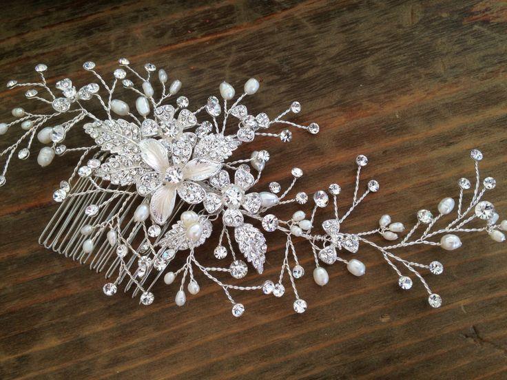 Bridal Hair comb with Fresh water pearls wedding by WEDDINGLASSOS, $95.00