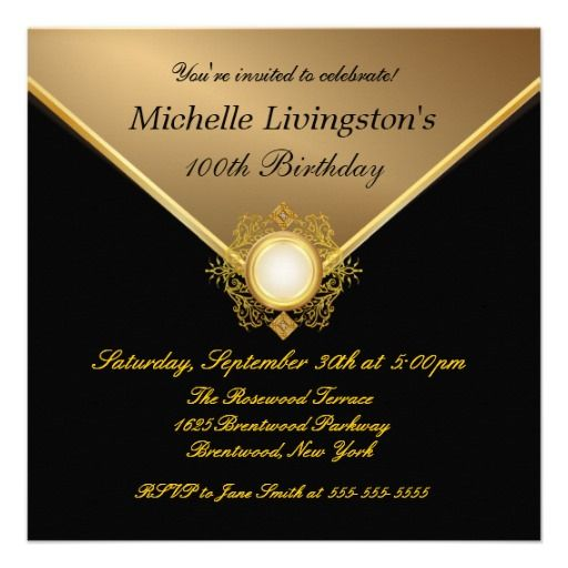 21 best 100th birthday invitation templates images on pinterest elegant gold black ladies party invitations filmwisefo