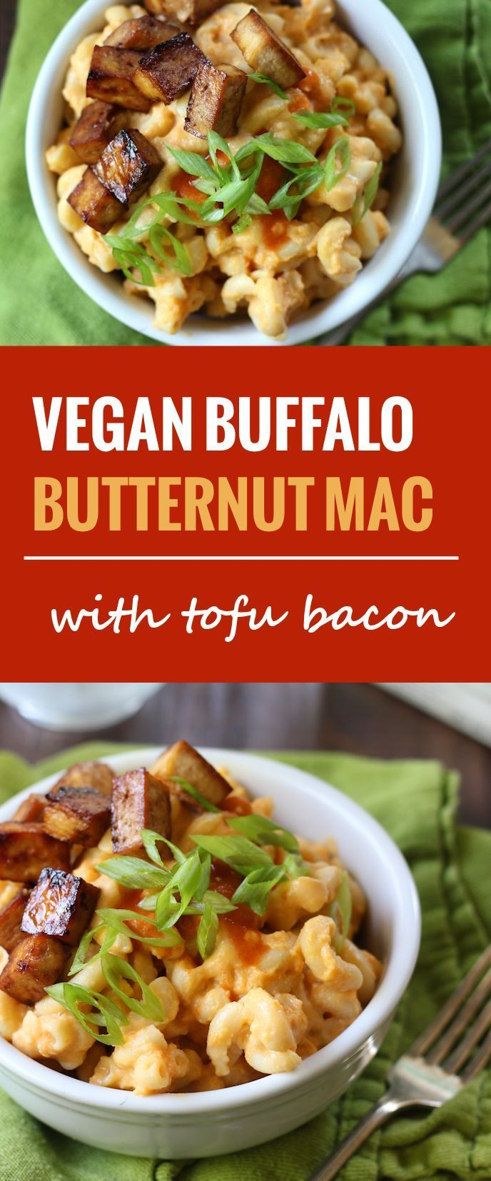 Pasta is drenched in silky butternut sauce spiked with cayenne pepper to make this creamy vegan Buffalo butternut mac that's served with smoky tofu bacon.