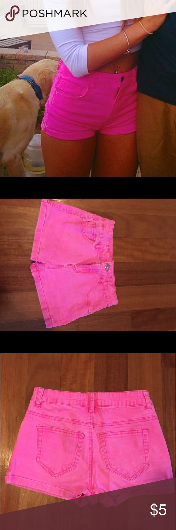 REFUGE High Rise Shorts purchased from Charlotte Russe. Good condition. Shorts feel comfy as spandex. Hot pink. Charlotte Russe Shorts