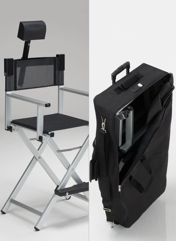 Set Alu make up chair complete with adjustable headrest and suitable trolley waterproof travel bag.