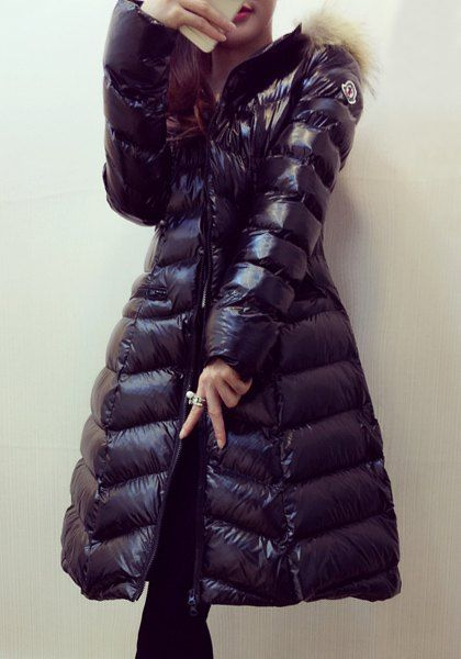 Elegant Hooded Long Sleeve Zip Up Faux Fur Splicing Down Coat For Women