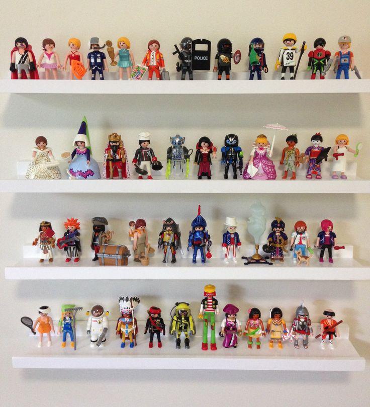 Shelves to display Playmobil figures.