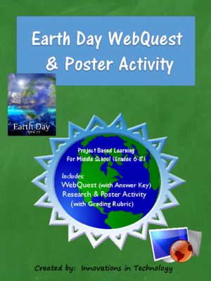 In this lesson, students learn more about Earth Day as they complete a WebQuest (Internet Scavenger Hunt) to research some questions about the holiday and the environmental conservation issues that it involves. Next, they choose a related topic of interest and research it in more depth to create a poster using software available on classroom computers or Web 2.0 tools such as PosterMyWall, Canva, Prezi, etc.   A complete answer key is provided for easy grading, along with resources for both…
